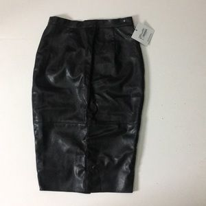 Faux Leather Seam Detail Midi Skirt